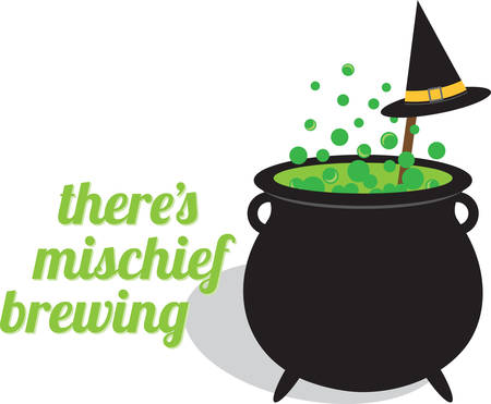 hallows: Bubbling cauldron of witches brew and black hat for Halloween.