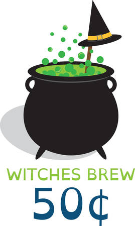beggars: Bubbling cauldron of witches brew and black hat for Halloween.