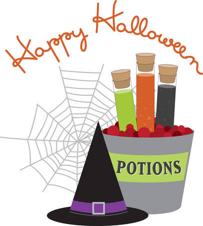 poison bottle: Corked jars of witches brew black hat and spider web for Halloween. Illustration