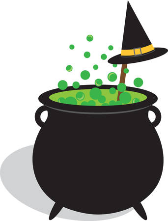 brew: Bubbling cauldron of witches brew and black hat for Halloween.