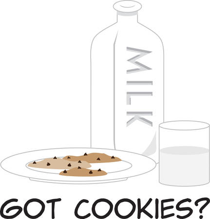 Milk and cookies are kids favorites after school. Çizim