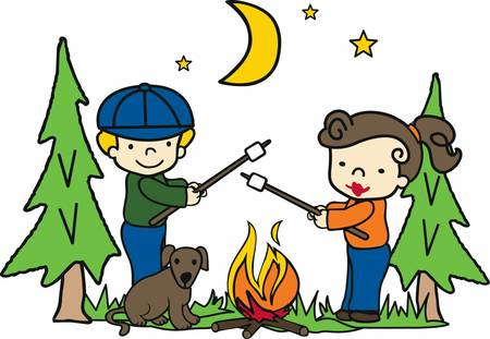 Happy campers roasting marshmallows over an open fire at night.
