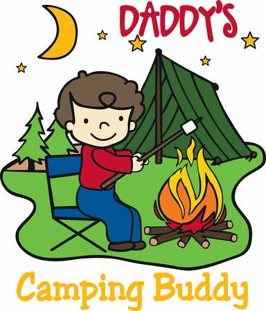 marshmallows: Happy camper roasting marshmallows over an open fire at night. Illustration