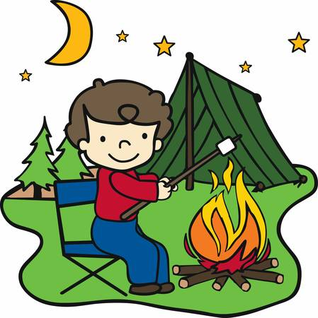 roasting: Happy camper roasting marshmallows over an open fire at night. Illustration