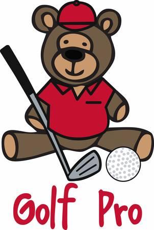 Golfing teddy bear cartoon with a iron club and ball.