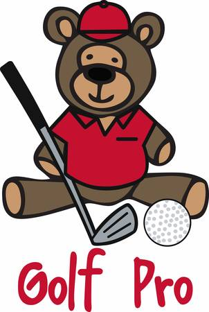 cubby: Golfing teddy bear cartoon with a iron club and ball.