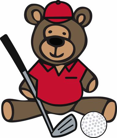 teddy bear cartoon: Golfing teddy bear cartoon with a iron club and ball.