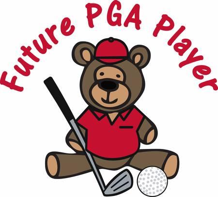cubby: Golfing teddy bear cartoon with a iron club and ball.