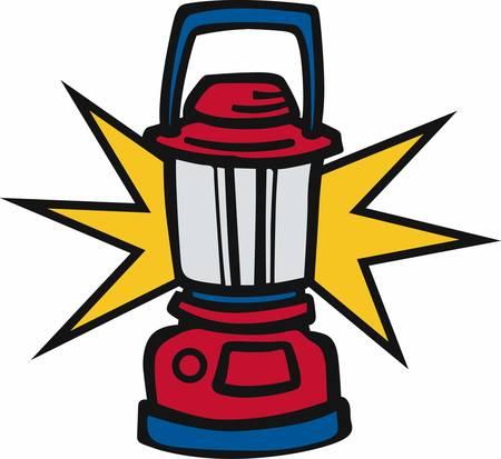 shining light: Linterna de camping rojo con luz brillante.