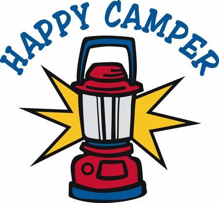 Red camping lantern with shining light. Ilustração