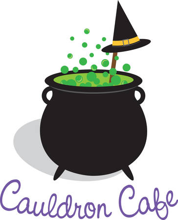 Bubbling cauldron of witches brew and black hat for Halloween.
