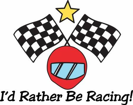 crossed checkered flags: Red racing helmet under crossed checkered flags logo. Illustration