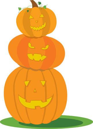 jack o  lanterns: Stack of cute jack o lanterns for Halloween decorating. Illustration