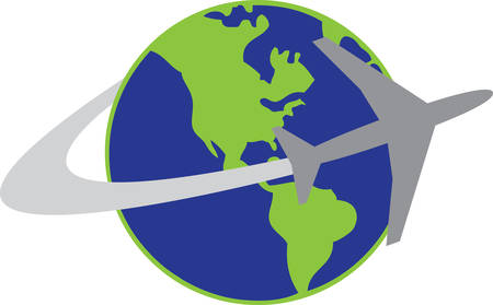 circling: Jet plane circling the globe.
