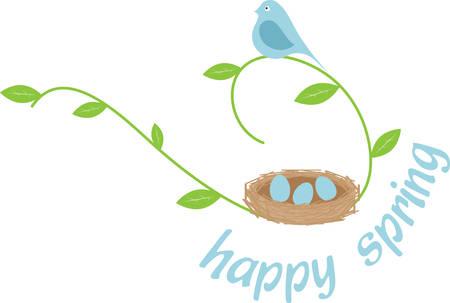 Blue bird on a leafy vine with an eggfilled nest. 向量圖像