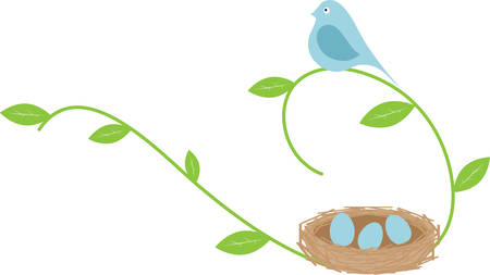 Blue bird on a leafy vine with an eggfilled nest. Illusztráció