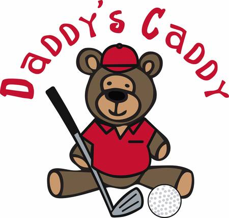 teddy bear cartoon: Golfing teddy bear cartoon with a iron club and ball. Perfect for the dad who like to golf with his child. Illustration