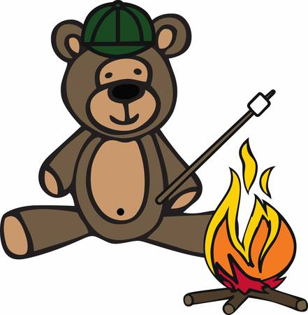 roasting: Camping teddy bear cartoon roasting a marshmallow at a campfire.