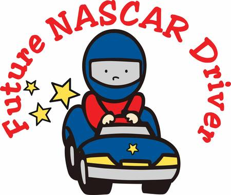 nascar: Helmeted boy driving a blue toy race car with yellow stars trailing behind.