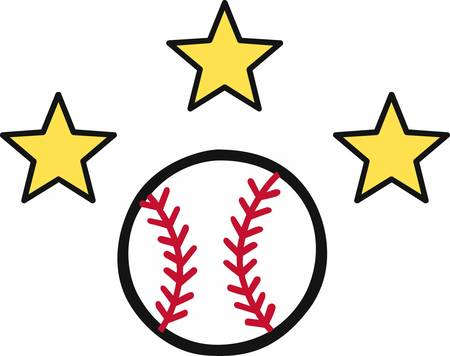 Crossed baseball bats with yellow stars and a ball on top logo.
