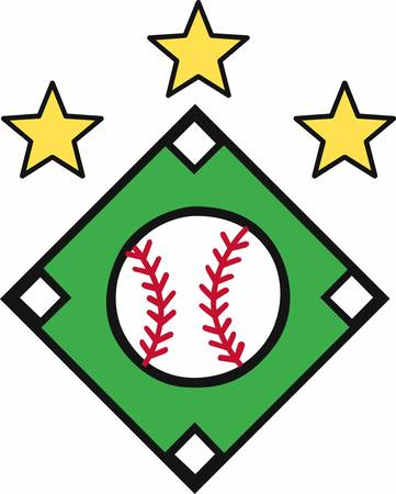 little league: Crossed baseball bats with yellow stars and a ball on top logo.