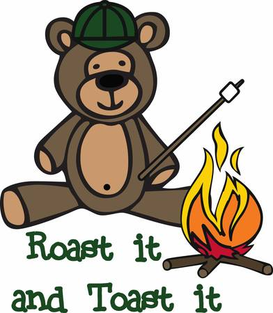 teddy bear cartoon: Camping teddy bear cartoon roasting a marshmallow at a campfire.
