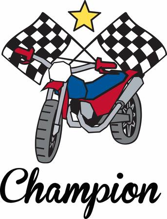 Racing dirt bike under crossed checkered flags and a yellow star. Illustration