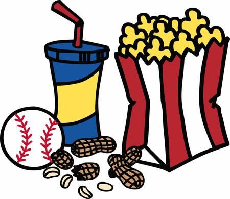 carbonated beverage: Popcorn soda and peanuts baseball snacks.
