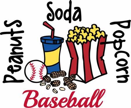 Popcorn soda and peanuts baseball snacks.
