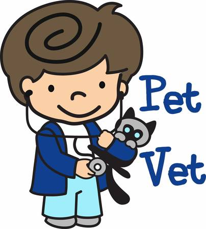 stethoscope boy: Take care of your pets because they trust you .Pick those design by Concord. Illustration