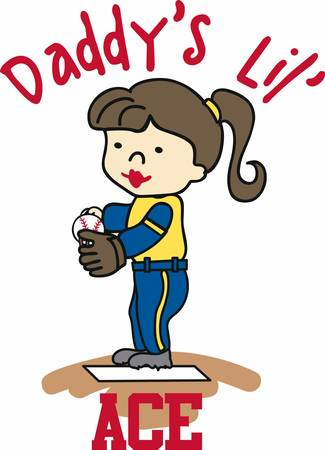 Brunette softball pitcher on the mound. Perfect for the dad who has an athletic daughter.  イラスト・ベクター素材