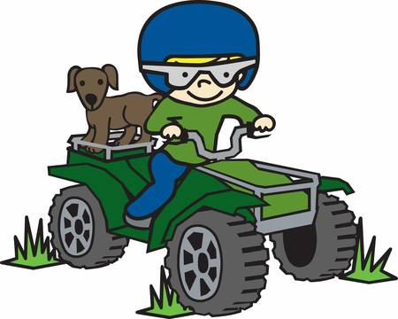 quad: Boy with his little brown dog riding a quad.