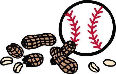baseball hat: Baseball hat ball and peanut snacks.