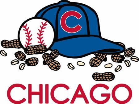 Baseball hat ball and peanut snacks.