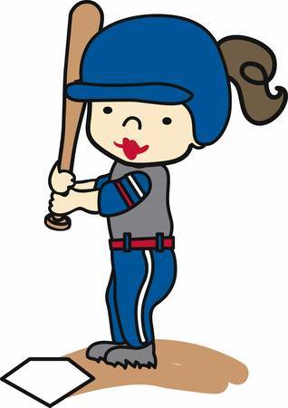 batter: Brunette softball batter ready at home plate. Illustration