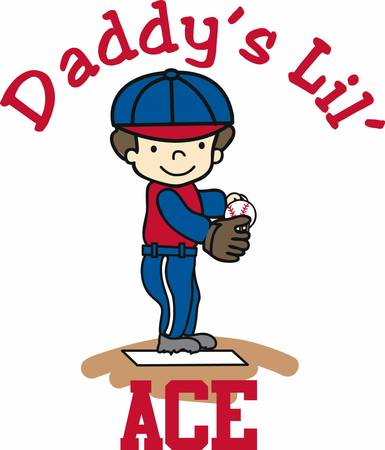 Baseball pitcher ready at the mound. Perfect for the dad who has an athletic son. Illustration