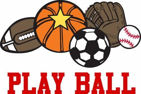 mitt: Basketball football baseball mitt and soccer game balls.
