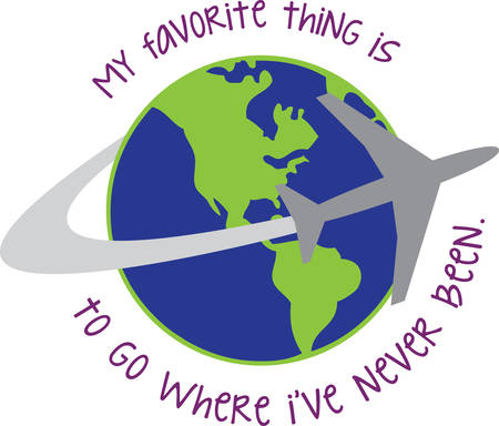 Jet plane circling the globe. Great for someone who likes to travel.