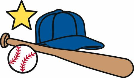 little league: Baseball cleats bat and ball logo.