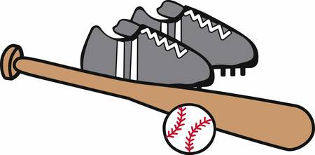 cleats: Baseball cleats bat and ball logo.