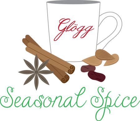 european culture: Warm your holiday project with this hot glogg design. Illustration