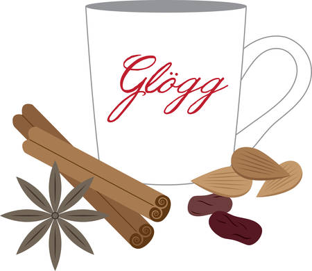 Warm your holiday project with this hot glogg design. Illustration