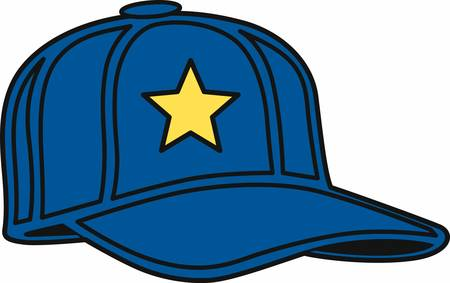 Blue baseball hat with a yellow star. Ilustrace