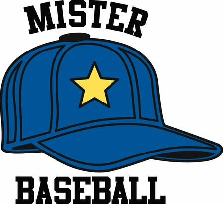 yellow star: Blue baseball hat with a yellow star. Illustration