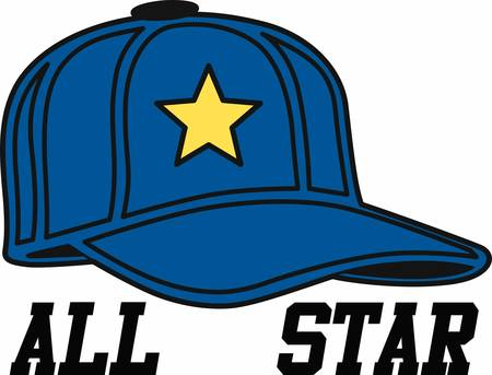 Blue baseball hat with a yellow star. Illustration