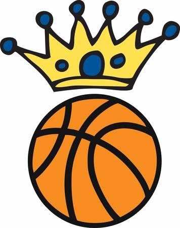 Blue circle crown over a basketball logo.
