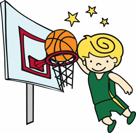 High jumping slam dunk basketball player with yellow stars.