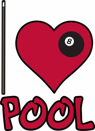 billiards cue: Pool cue stick and heart with black billiards 8 ball for I Love Pool. Illustration