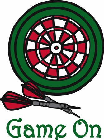 Green red and white target board and darts.