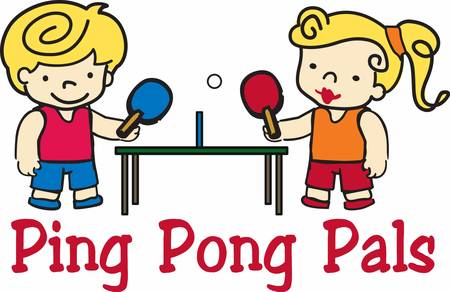 pong: Blonde boy and girl ping pong players at the table.
